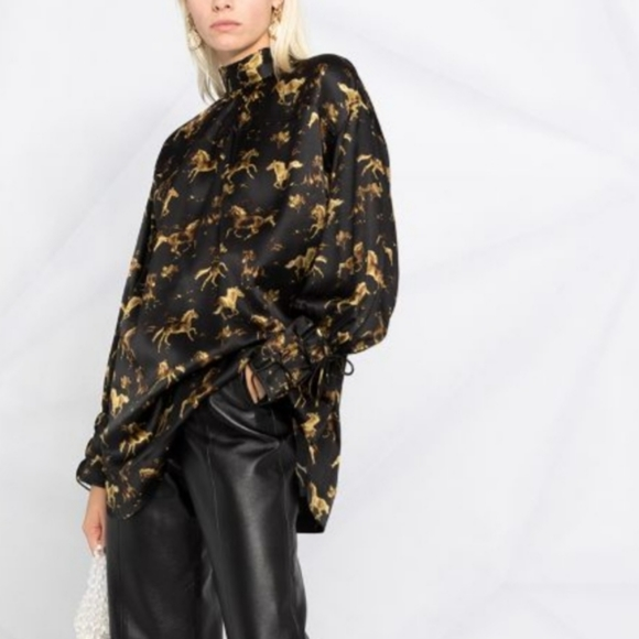 NWT GANNI Oversized Silk Horse Tunic
